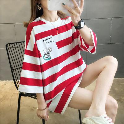 【实拍】新款韩版潮宽松半袖中长款短袖T恤女上衣