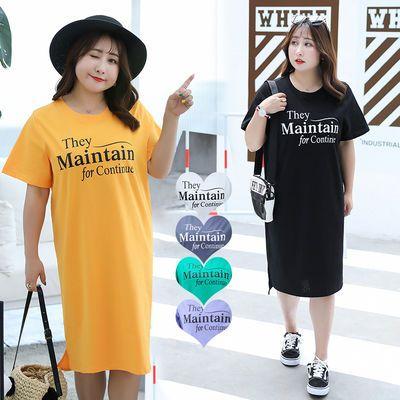 大码女装200斤2020夏季新款胖mm显瘦不规则字母印花五分袖连衣裙