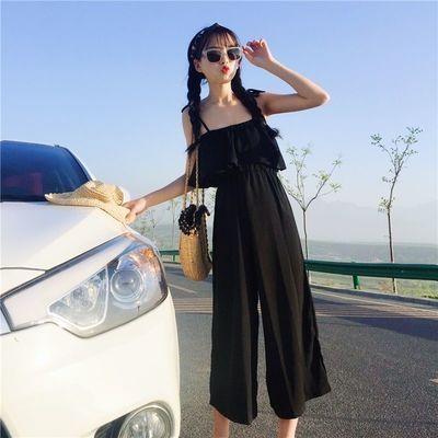 夏季新款吊带连体裤女学生韩版宽松九分阔腿裤套装女背带连衣裤女