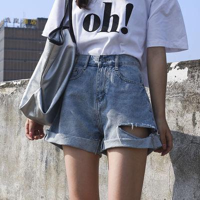 短裤女高腰夏季蓝色牛仔短热裤女显瘦宽松翻边破洞黑色阔腿短裤潮
