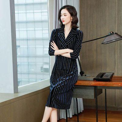 条纹连衣裙洋气2019新款秋装韩版v领显瘦中长款高端气质时髦a字裙