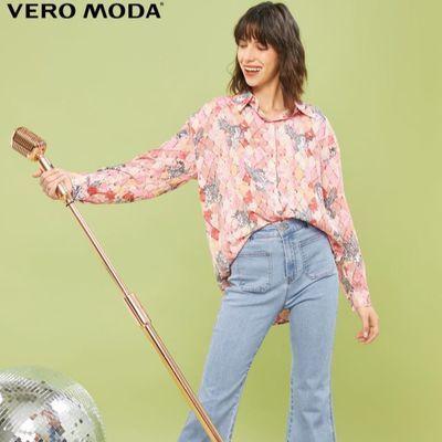 Vero Moda2020春夏新款ins风复古印花图案长袖衬衫女|320205510