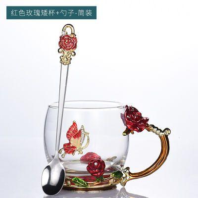 珐琅彩玻璃水杯家用牛奶果汁杯办公女花茶杯耐热咖啡杯节日礼品杯