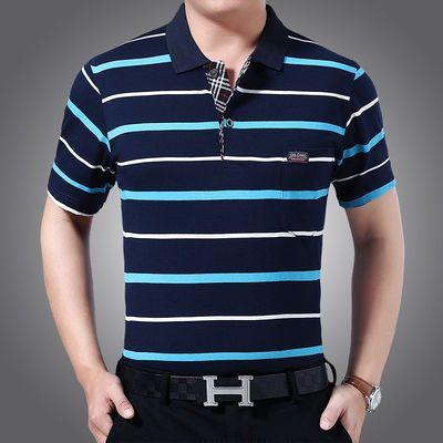 真口袋 夏季男士短袖t恤翻领条纹中年大码宽松男装