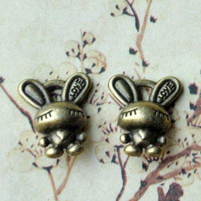 首饰材料包 复古饰品配件 diy手链材料 古铜爱心兔