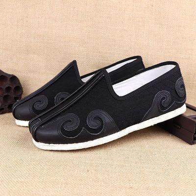 老北京布鞋低帮男单鞋民族手工千层底传统洒鞋春秋透气中老年复古