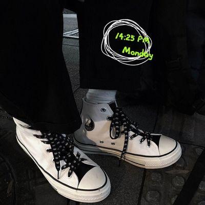 ins高帮帆布鞋男1970s复古太极阴阳鞋学生潮流百搭休闲板鞋情侣鞋