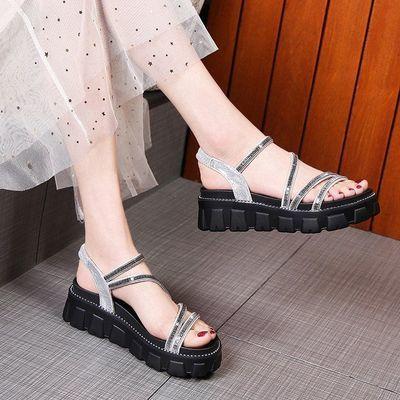 松糕凉鞋女2020夏季新款韩版厚底学生百搭凉鞋平底仙女风女士凉鞋