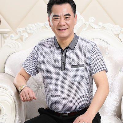 中老年男中年t恤短袖夏季圆领父亲休闲冰丝商务时尚polo透气男装