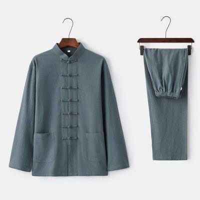 服居士服茶服亚麻套装中式装男青年长袖中国风男装唐复古棉麻禅修