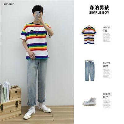 日系短袖t恤休闲套装男夏季新款韩版潮流帅气男士搭配条纹圆领t恤