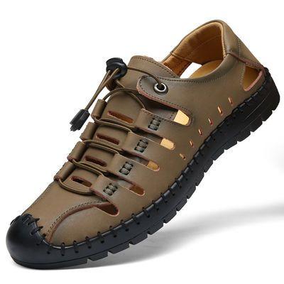 新款【不是牛皮包退】正品蜻蜓夏季皮凉鞋男户外真皮洞洞鞋透气休