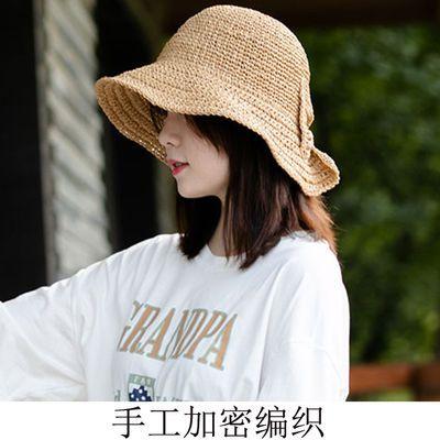 日本夏季新款大蝴蝶结遮阳帽子女士夏天度假防晒沙滩帽可折叠草帽