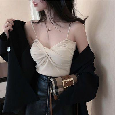 夏季性感交叉裹胸背心吊带打底衫修身无袖外穿短款上衣小背心女装