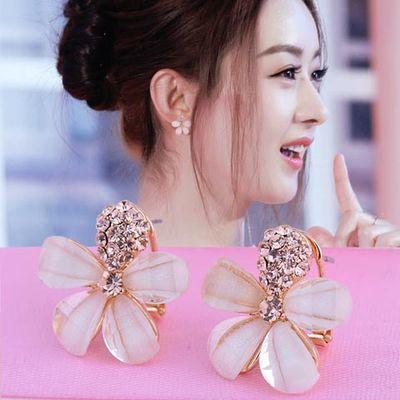 抖音同款925银针防过敏耳钉韩国新款甜美时尚五叶花瓣耳环气质百