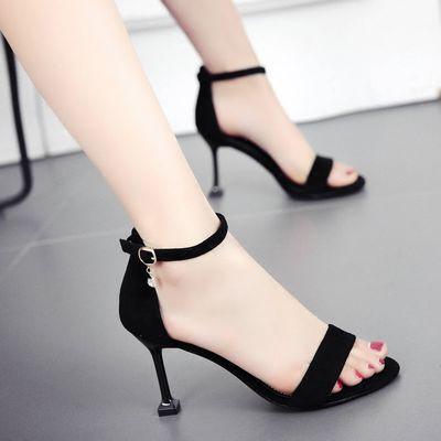 20020凉鞋女夏高跟鞋女2020新款鞋子女韩版露趾一字扣细跟高跟女
