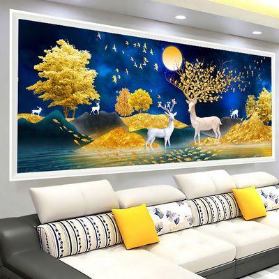 印花麋鹿十字绣客厅大幅简约现代线绣发财鹿2020新款手工自己刺绣