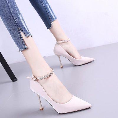 2020夏季新款韩版网红水钻一字扣带时尚高跟鞋细跟尖头浅口单鞋女