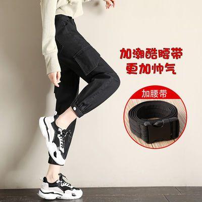 新款工装裤女束脚韩版宽松bf学生高腰显瘦春秋装嘻哈风运动休闲裤