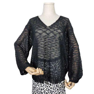 针织时尚镂空上衣女薄款2020夏季新品灯笼袖韩版宽松单穿网洞罩衫