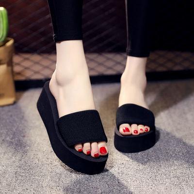 2020夏季新款时尚女拖松糕底一字拖鞋女厚底夏防滑坡跟沙滩凉拖鞋