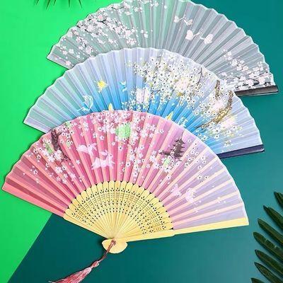 中国风复古扇子夏季女折叠扇古风折扇古典丝绸小绢扇随身便携流苏