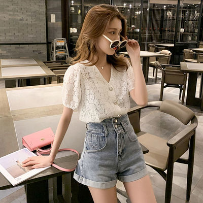 三件套装韩版衬衫蕾丝衫上衣+吊带+学生显瘦休闲牛仔短裤热裤子女