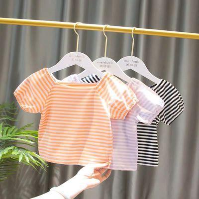 女童短袖T恤童装女宝宝1-3岁幼儿童韩版条纹百搭短袖t恤上衣潮