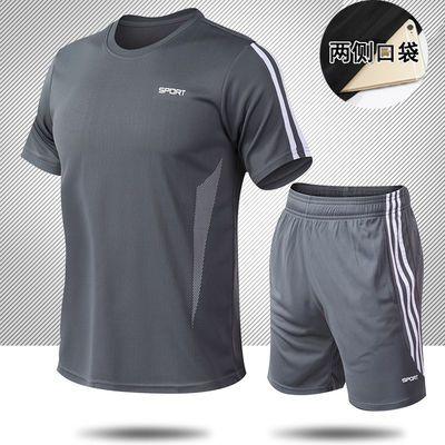 跑步健身透气速干衣运动套装男夏季新款短裤短袖T恤休闲两件套薄