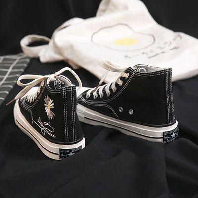 小皱菊黑色高帮帆布鞋女1970s学生韩版ins板鞋潮权志龙GD同款