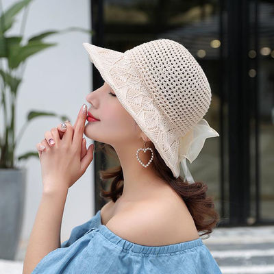夏天薄款帽子女百搭遮阳渔夫帽防晒日系小清新海边沙滩太阳帽盆帽