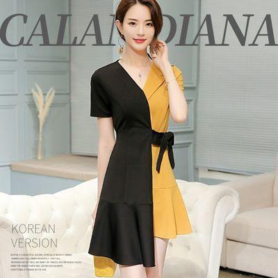 连衣裙女夏2020新款韩版潮流系带拼色显瘦不规则短袖打底裙中长款