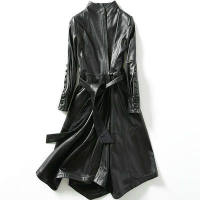 帕波仕蒂100%绵羊皮真皮皮衣女士修身长款风衣外套海宁春秋新款潮