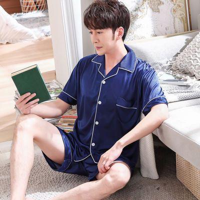 春夏季男士睡衣短袖薄款两件套青年丝绸宽松加大码冰丝男夏家居服