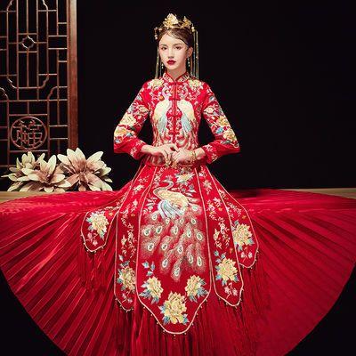 秀禾服2020新款结婚中式敬酒服新娘婚纱古装嫁衣绣和服出阁服秀女