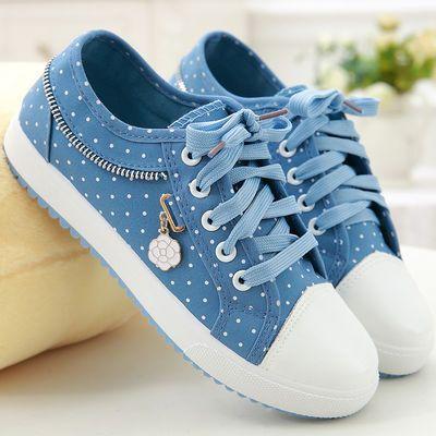 帆布鞋女夏秋季少女平底系带板鞋休闲卡通布鞋初中小学生大童单鞋