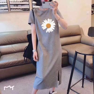 100%纯棉大码女装2020夏季新款过膝连衣裙女宽松显瘦学生短袖t恤