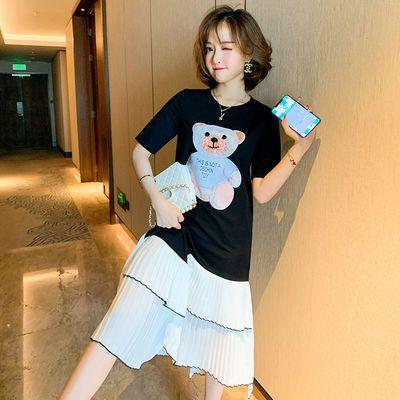2020夏季时尚新款卡通小熊图案宽松显瘦拼接百褶棉T恤连衣裙女装