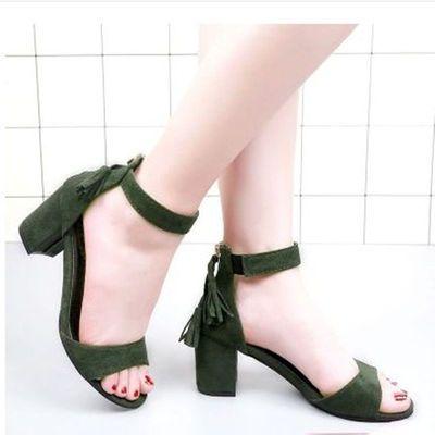 新款凉鞋女ins潮绒面粗跟女鞋中跟高跟一字流苏鱼嘴后拉链时装40