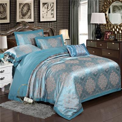 欧式贡缎纯棉四件套全棉被套1.8m双人结婚庆床品床单2.0床上用品