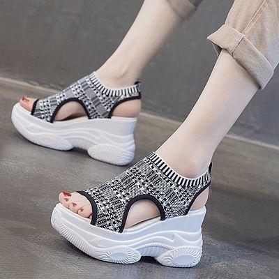 坡跟凉鞋女ins潮2020夏季新款百搭时尚网红超火厚底内增高罗马鞋