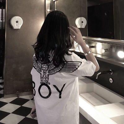 2020夏季新款BOY精神社会女快手红人网红同款半袖短袖t恤女学生韩