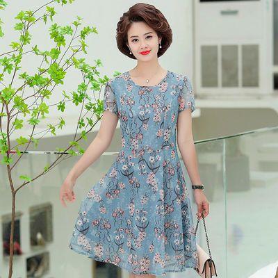 中老年妈妈装夏装雪纺短袖宽松连衣裙中长款时尚中年女装夏季裙子