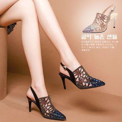 高跟凉鞋女夏季新款网纱包头细跟后空单鞋水钻女鞋子一字扣凉拖鞋