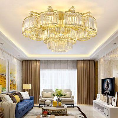 新款水晶客厅灯现代圆形轻奢吸顶灯家用大气卧室灯餐厅灯轻简灯具
