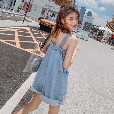 牛仔连体裤女2020新款夏韩版吊带宽松洋气减龄大码连衣背带裤短裤