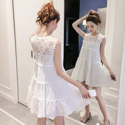 很仙的法国小众连衣裙2019夏季新款仙气白色刺绣蕾丝无袖短裙子女