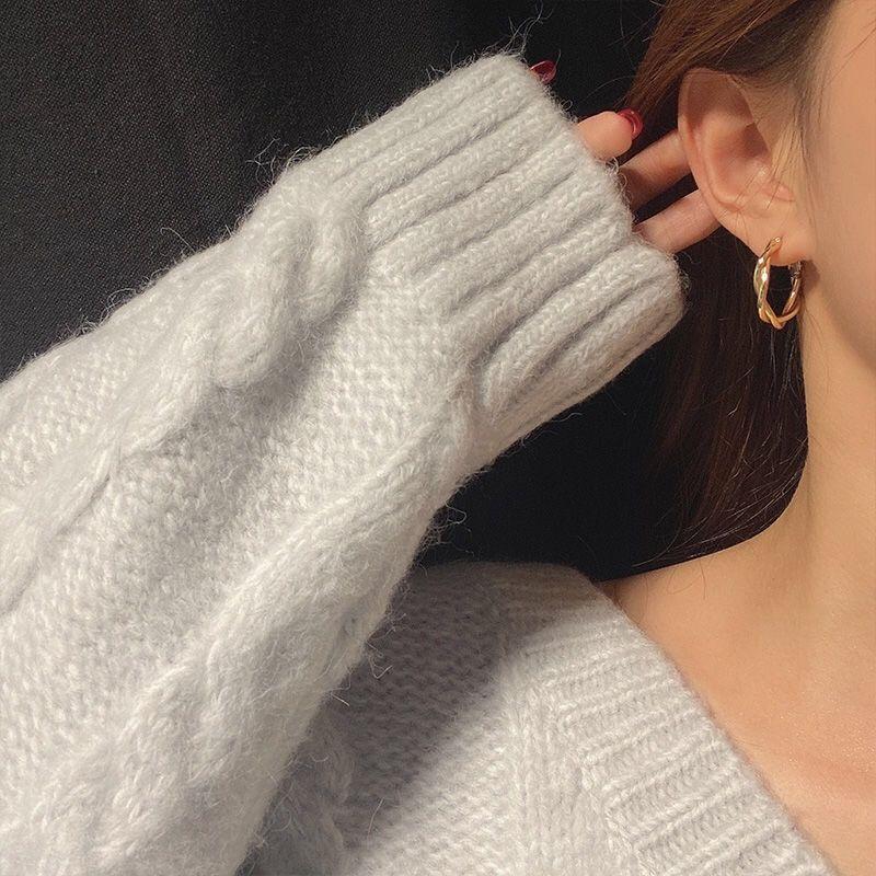 75678-S925银针耳钉女圆圈耳圈简约复古港风麻花耳环2020年新款潮耳饰品-详情图