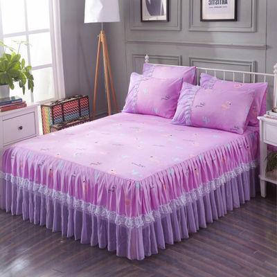 春夏新品韩版蕾丝边公主床裙床罩1.2单人1.8双人磨毛防尘保护套件