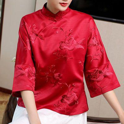 中老年人夏季唐装男女长袖情侣装中式上衣爷爷奶奶生日祝过寿套装